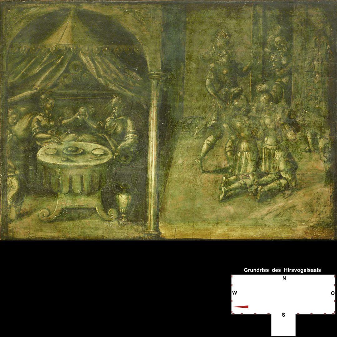 Cäsarenzyklus Vitenszene zu Claudius, Gesamt, rechte Bildhälfte: der sich nach der Todesmeldung Caligulas versteckende Claudius wird von den Prätorianern gefunden