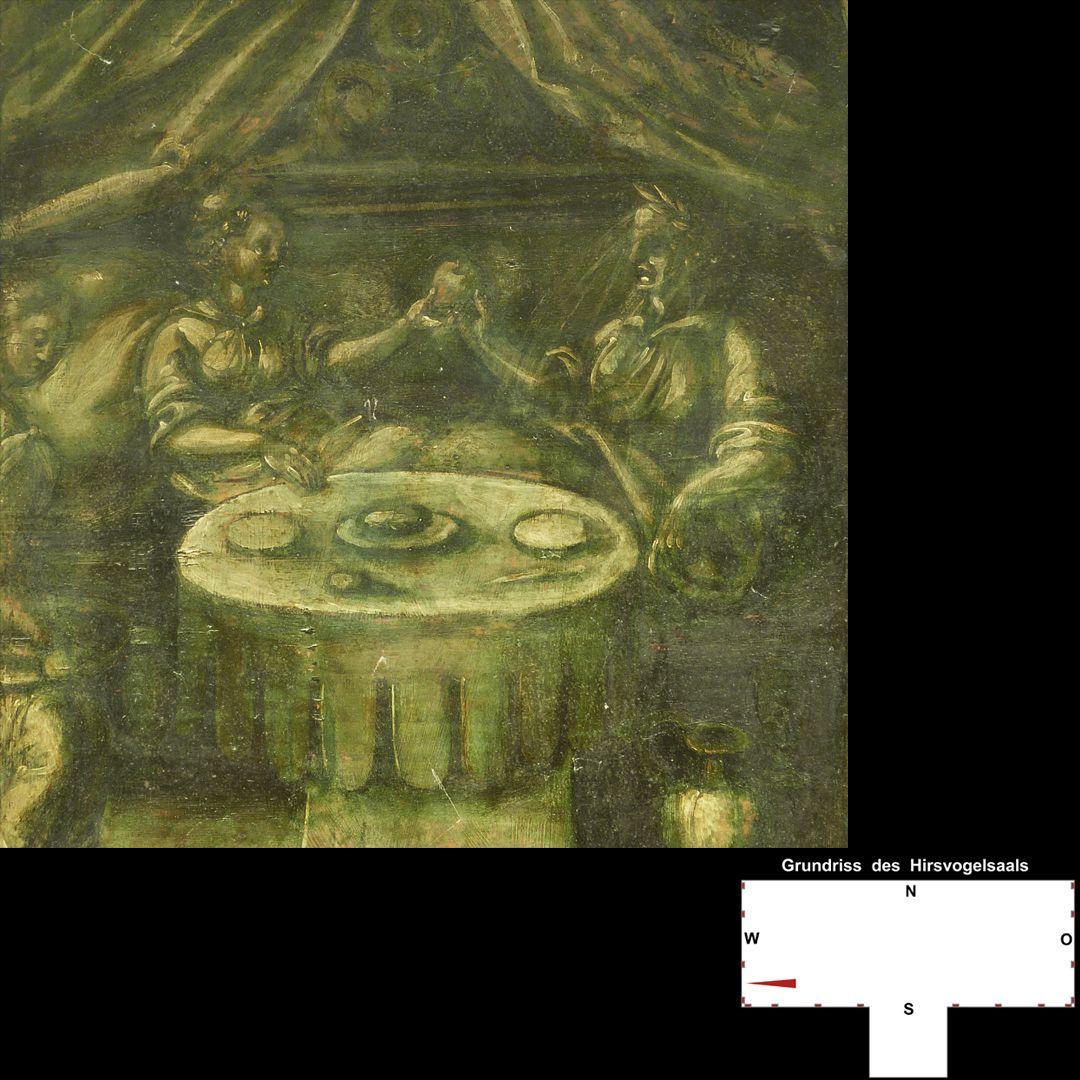 Cäsarenzyklus Vitenszene zu Claudius: linke Bildhälfte mit Szene am Tisch