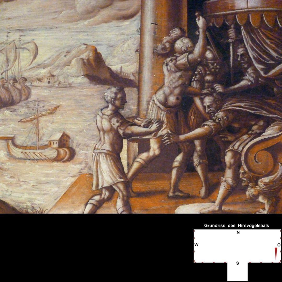 Cäsarenzyklus Vitenszene zu Caesar, rechte Bildhälfte: Ermordung Caesars