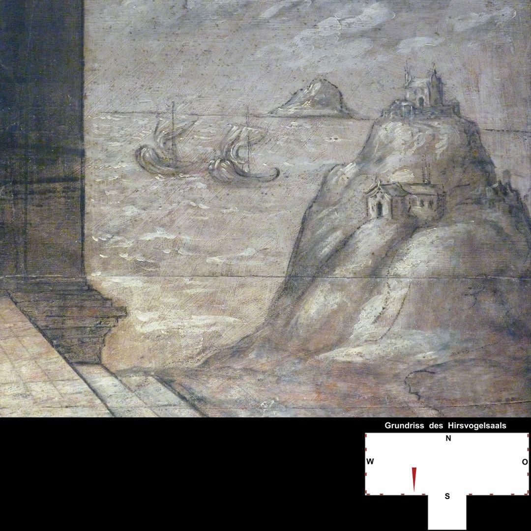 Cäsarenzyklus Vitenszene zu Tiberius: rechte Bildhälfte mit Inselwelt und Schiffen