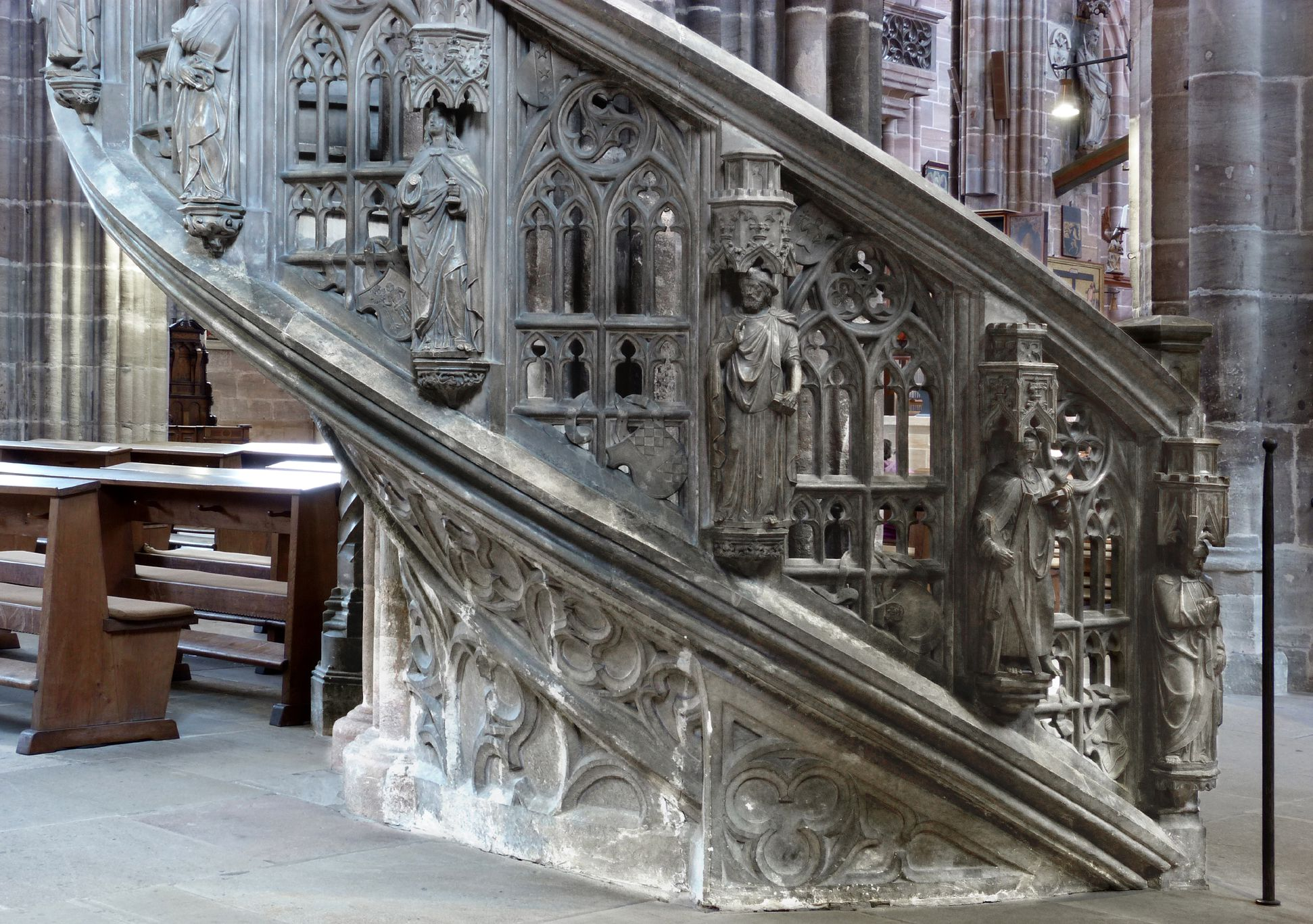Pulpit Staircase with apostles and tracery