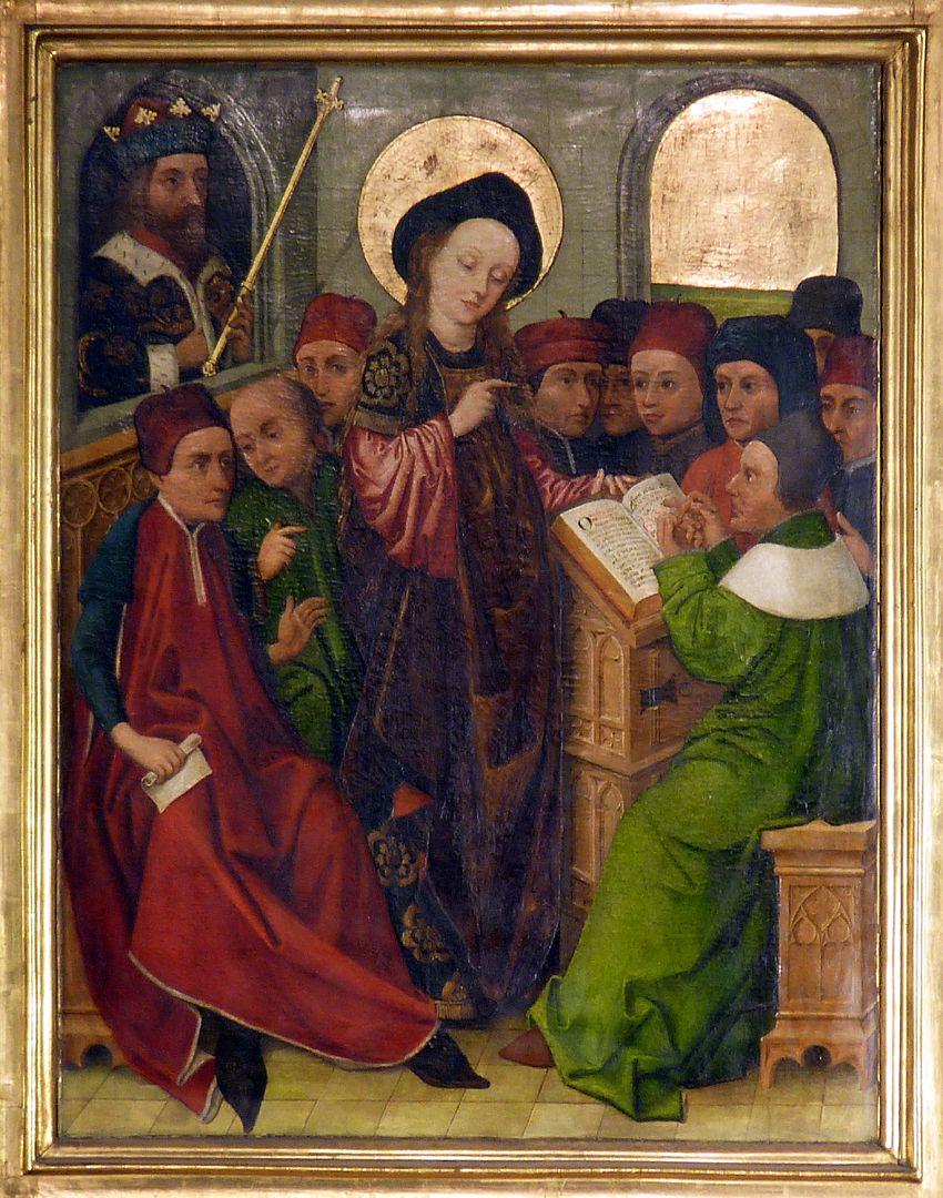 Katharinenaltar linker Flügel, Disputation der Katharina mit den Philosophen