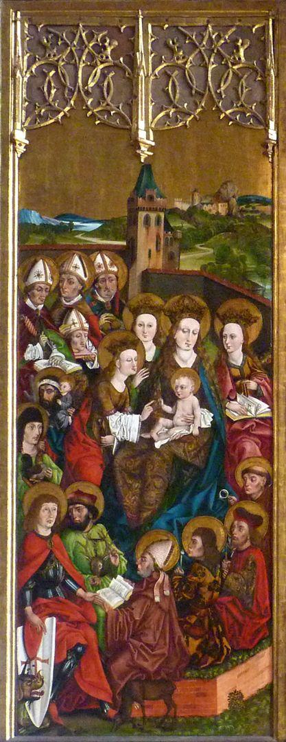 Katharinenretabel des Levinus Memminger linke Flügelinnenseite: mystische Vermählung Katharinas mit dem Christuskind inmitten der 14 Nothelfer, wobei Katharina zugleich eine der Nothelferinnen ist.