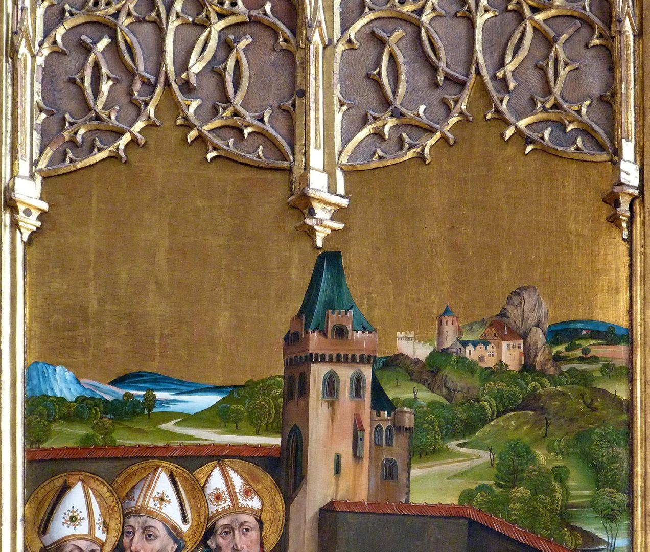 Katharinenretabel des Levinus Memminger linke Flügelinnenseite oben: Landschaft mit fränkischer Burg