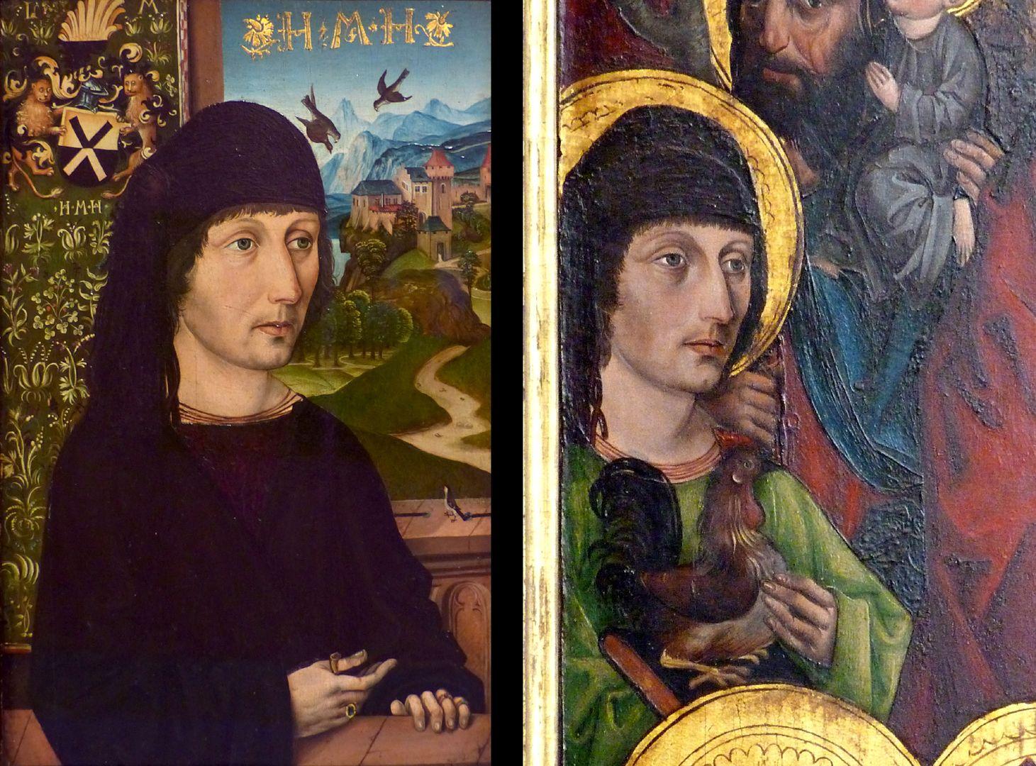 Katharinenretabel des Levinus Memminger Bildvergleich: Portrait des Levinus Memminger um 1485, Madrid Sammlung Thyssen-Bornemisza mit Darstellung des St. Veit auf der linken Flügelinnenseite