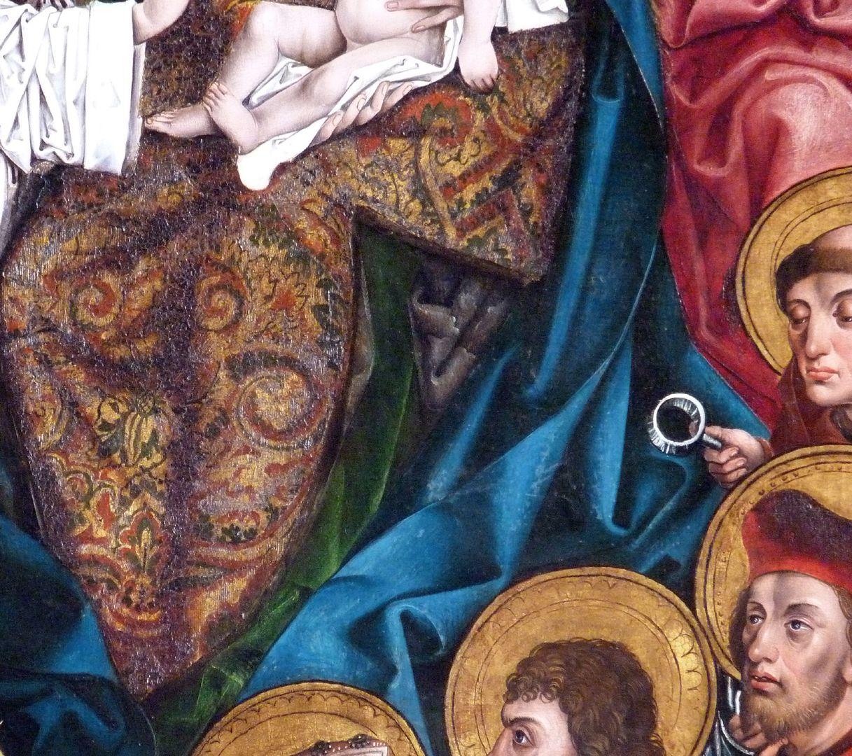 Katharinenretabel des Levinus Memminger linke Flügelinnenseite: Detail mit dem Gewand der Maria und den Köpfen der Nothelfer, darunter St. Antonius von Padua mit Lupe