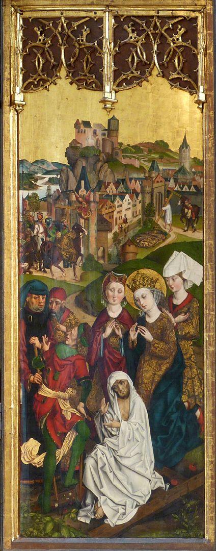 Katharinenretabel des Levinus Memminger rechte Flügelinnenseite: Kreuzprobe der heiligen Helena und die Rückführung des Wahren Kreuzes nach Jerusalem durch Kaiser Heraklius