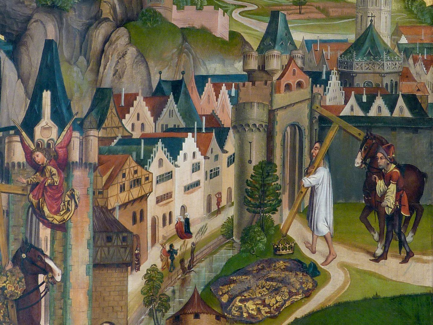 Katharinenretabel des Levinus Memminger Der Kaiser bringt das Kreuz durch ein Tor in die Stadt zurück