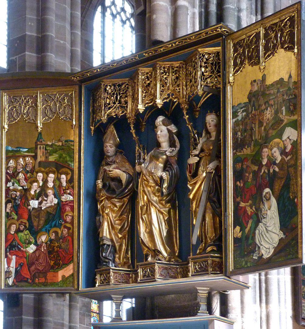 Katharinenretabel des Levinus Memminger Gesamtansicht von rechts mit geöffnetem Schrein