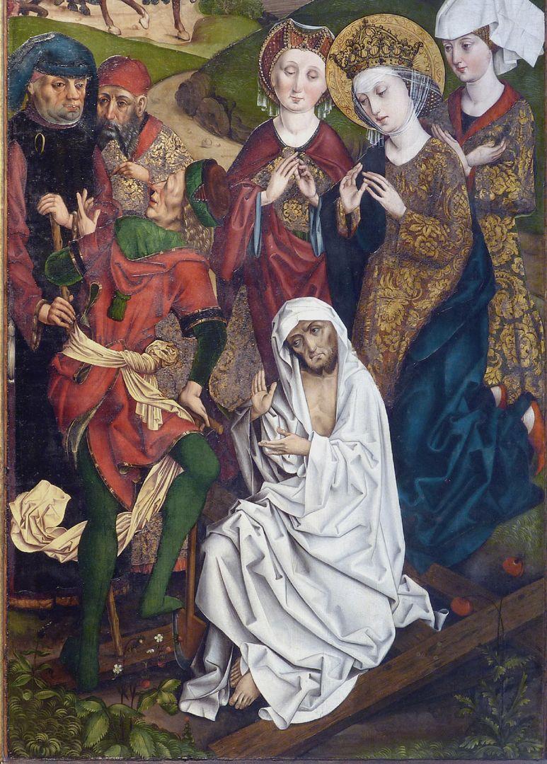 Katharinenretabel des Levinus Memminger rechte Flügelinnenseite: ein wiederauferweckter Toter bestätigt die Echtheit des Kreuzes