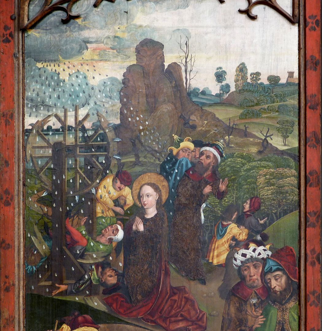 Katharinenretabel des Levinus Memminger linker Flügel, außen, Radwunder