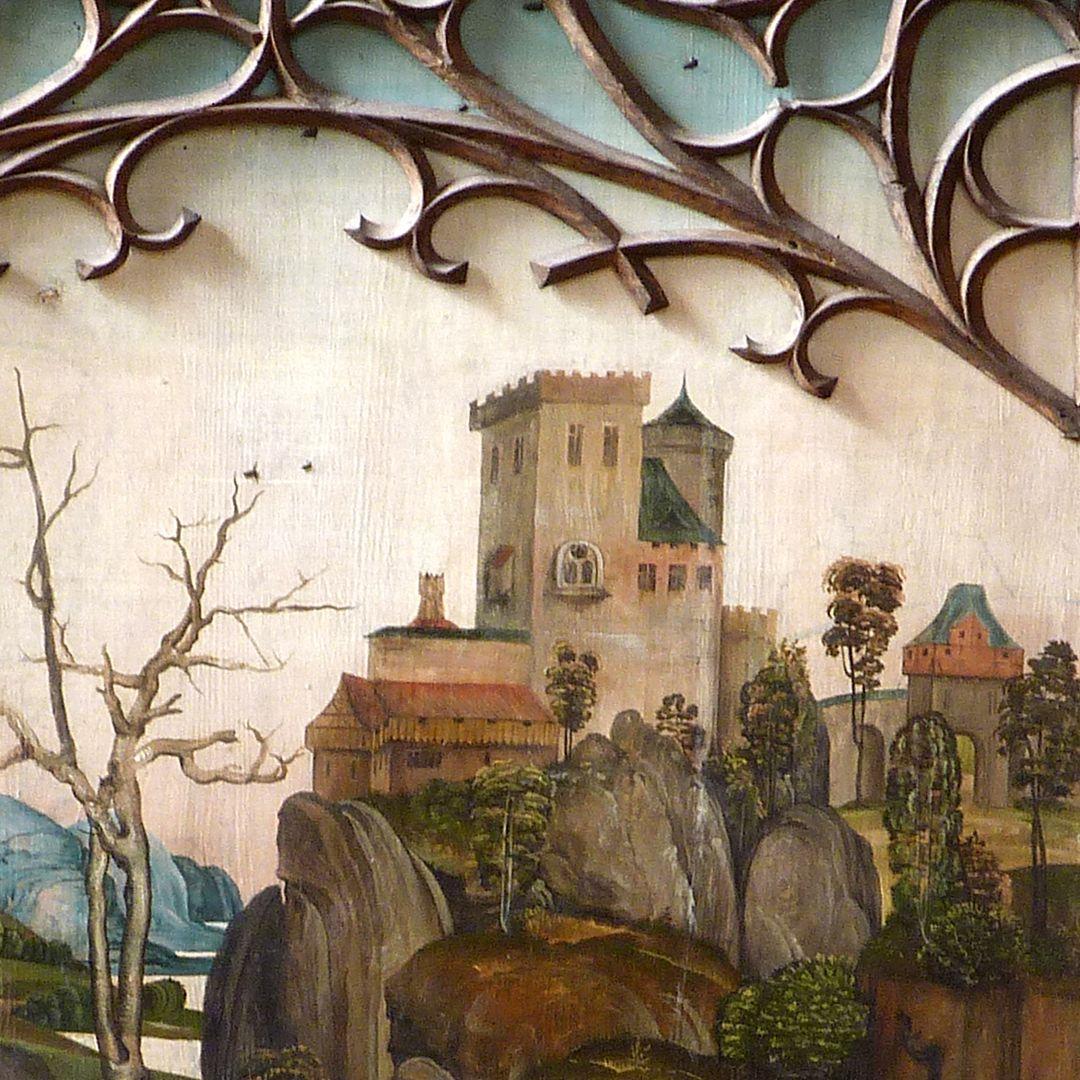 Katharinenretabel des Levinus Memminger rechter Flügel, außen,obere Bildhälfte mit fränkischer Landschaft, Detail mit Burg