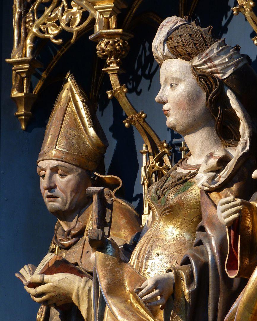 Katharinenretabel des Levinus Memminger Bischof Levinus [Livinus] von Gent und Katharina