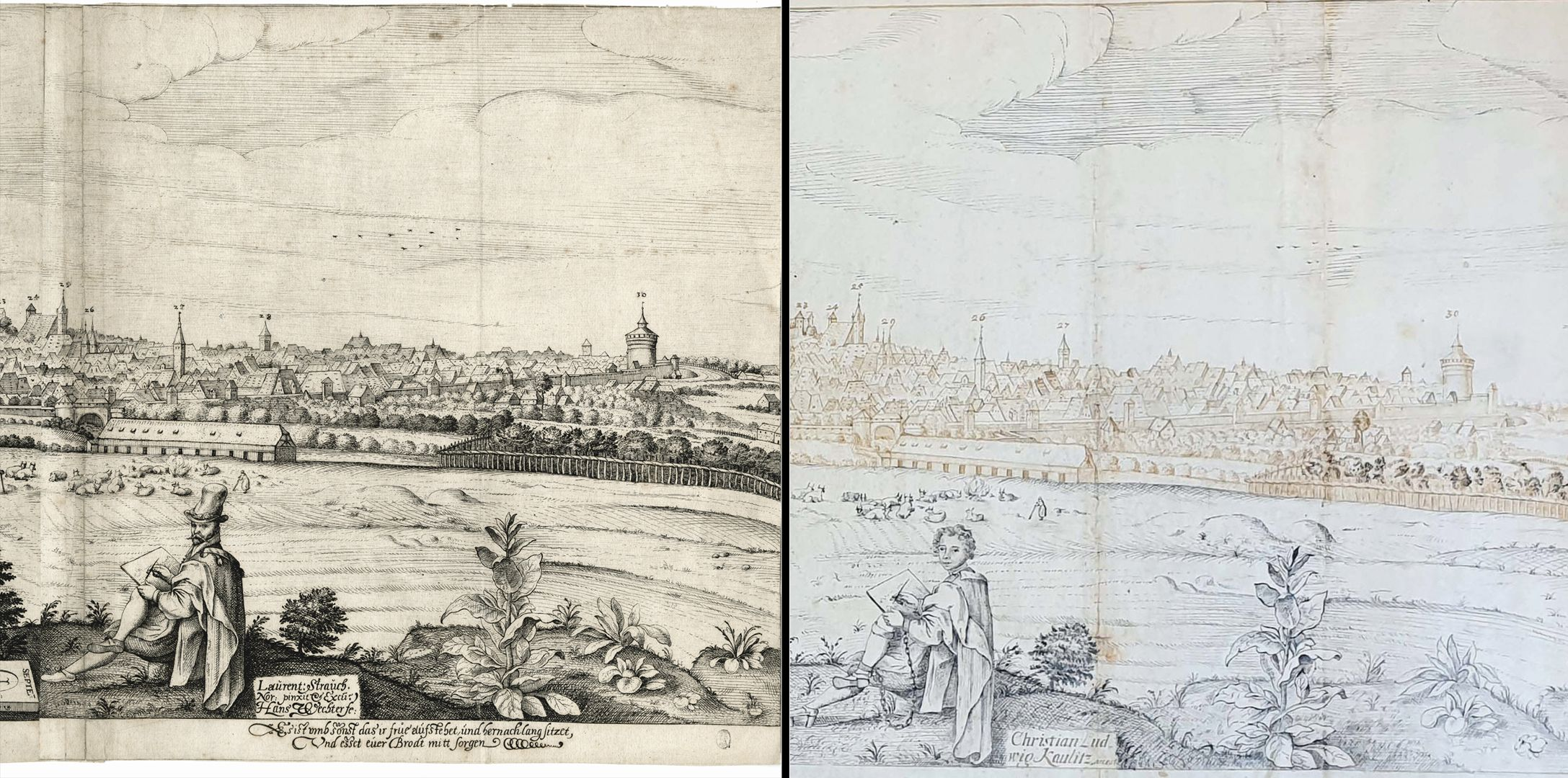 Imperial City of Nuremberg against the Rise of the Sun (east) Comparison of images: on the left copperplate engraving by Wechter, on the right pen and ink drawing of Kaulitz, he is sitting in chains and the word Arrest(atus) is added to his name to indicate his imprisonment.