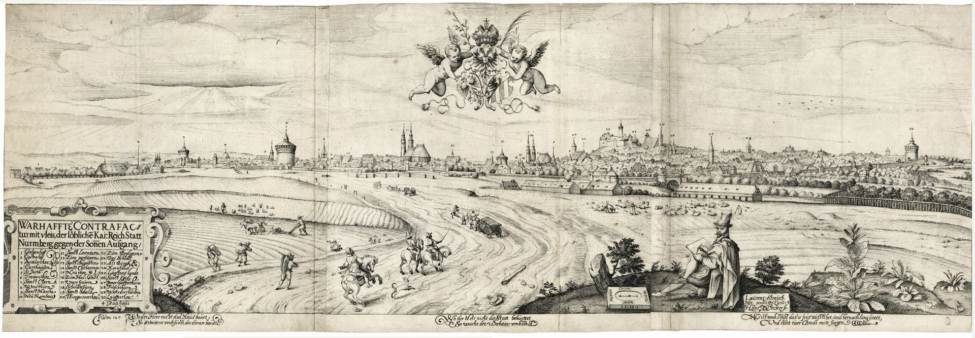 Imperial City of Nuremberg against the Rise of the Sun (east) Copper engraving from 1599 by Hans Wechter (1575-1608) after an oil painting by Lorenz Strauch (1554-1630)