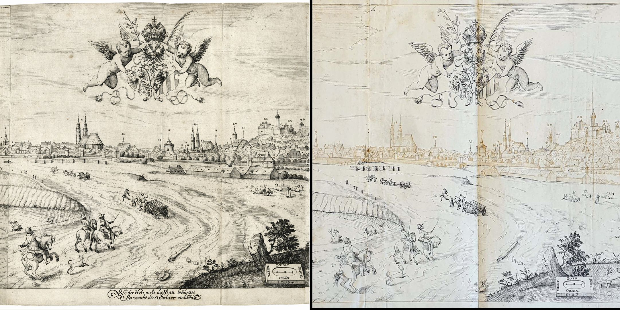 Imperial City of Nuremberg against the Rise of the Sun (east) Image comparison: left copperplate engraving by Wechter, right pen and ink drawing by Kaulitz