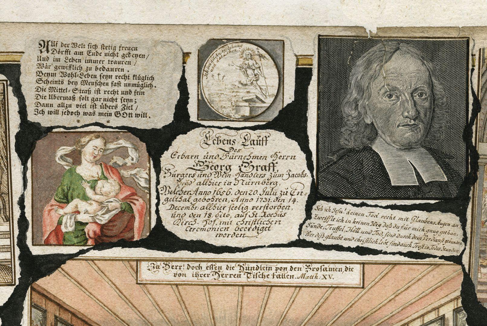 Quodlibet auf den Tod des Weinhändlers Graff Mittig oberhalb der zentralen Szene eines Festmahls sind auf einem ausgerissenen Zettel die Lebensdaten von Georg Graff notiert, als sei es eine Inschriftenkartusche.