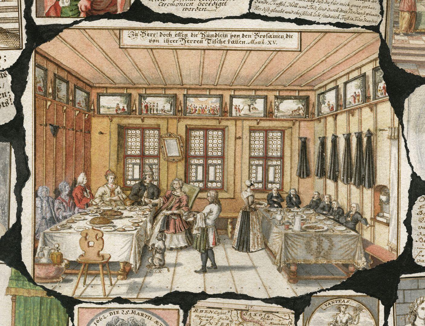 """Quodlibet auf den Tod des Weinhändlers Graff Zentrale Szene mit der Darstellung eines Festmahls. Bildüberschrift:"""" Ja Herr! doch essen die Hündlein von den Brosamen, die von ihrer Herren Tische fallen. Math: XV"""" (Matthäus 15,27)."""
