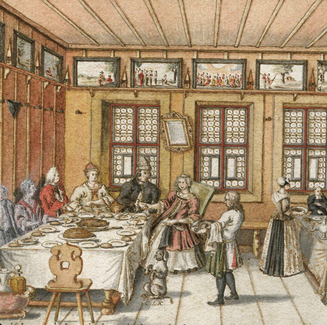 Quodlibet auf den Tod des Weinhändlers Graff Zentrale Szene, Detail mit bettelndem Hündlein stellt direkten Bezug zur Bildüberschrift her.