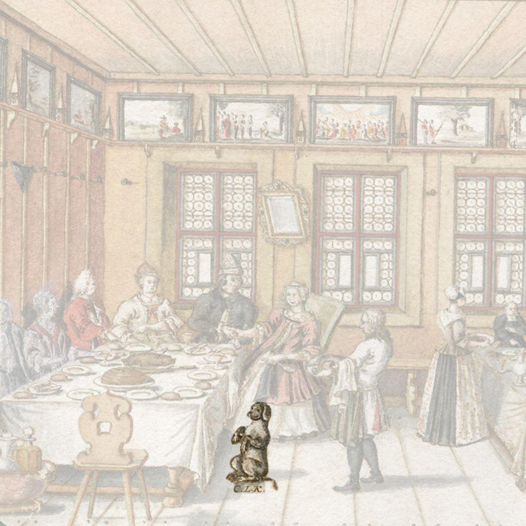 Quodlibet auf den Tod des Weinhändlers Graff Unter dem Hündlein stehen die Initialen des Künstlers (!). Der durchlaufende Rockzaum der hinteren Figur über der Brust des Hundes lässt auf ein späteres Hinzufügen bei Komposition des Blattes schließen.