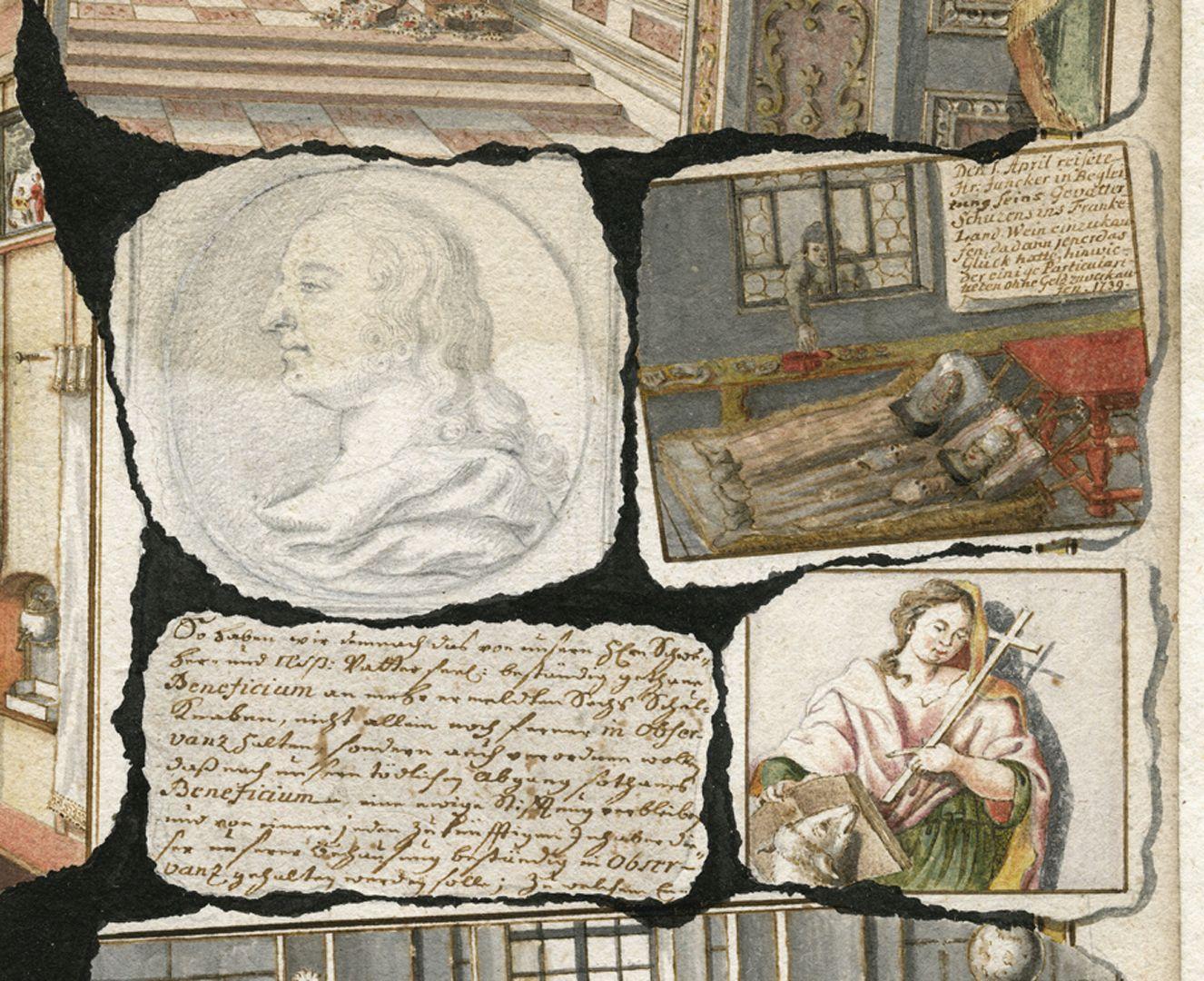 """Quodlibet auf den Tod des Weinhändlers Graff Gruppe von """"Quodlibetzetteln"""" am mittleren rechten Blattrand. In der rechten oberen Szene sehen wir, wie 1739 der Schwiegersohn S.V. Juncker in Begleitung seines Gevatters bestohlen werden."""