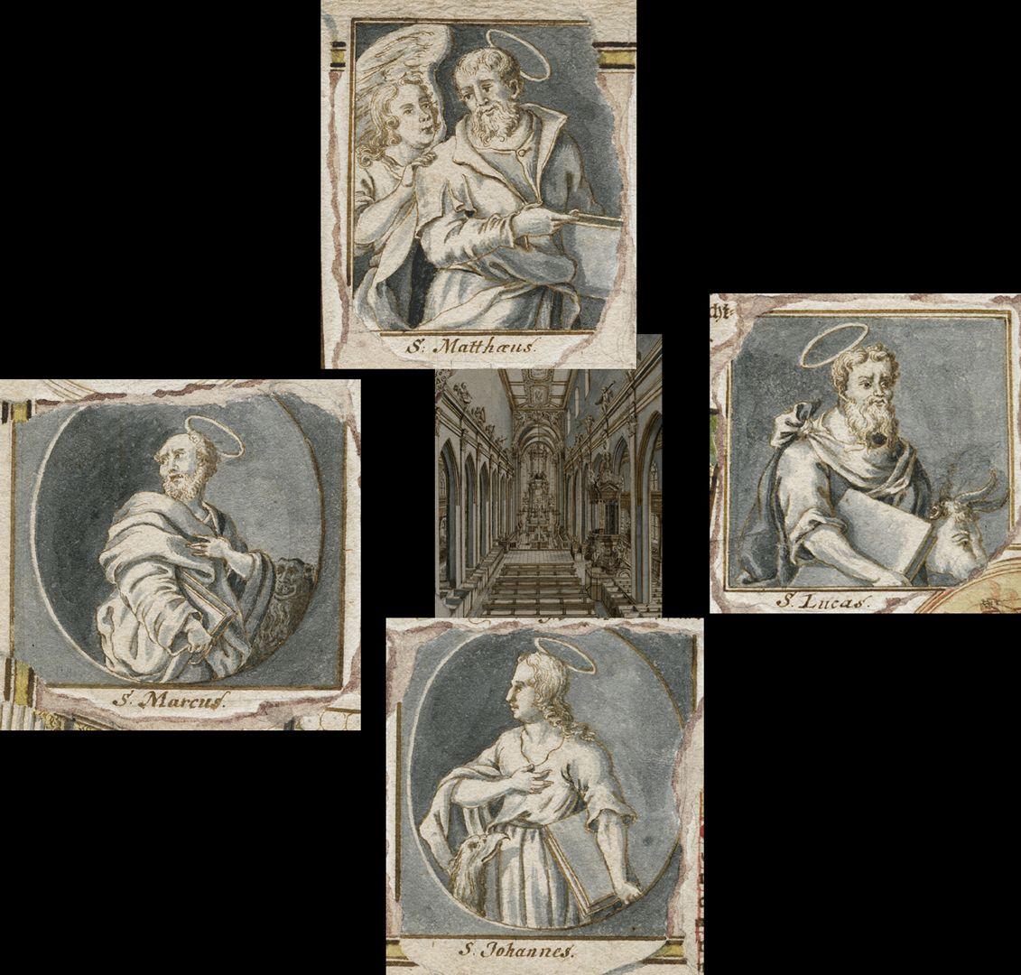 Quodlibet zum Heilig-Geist-Spital Collage der um die Mitte angeordneten Evangelisten