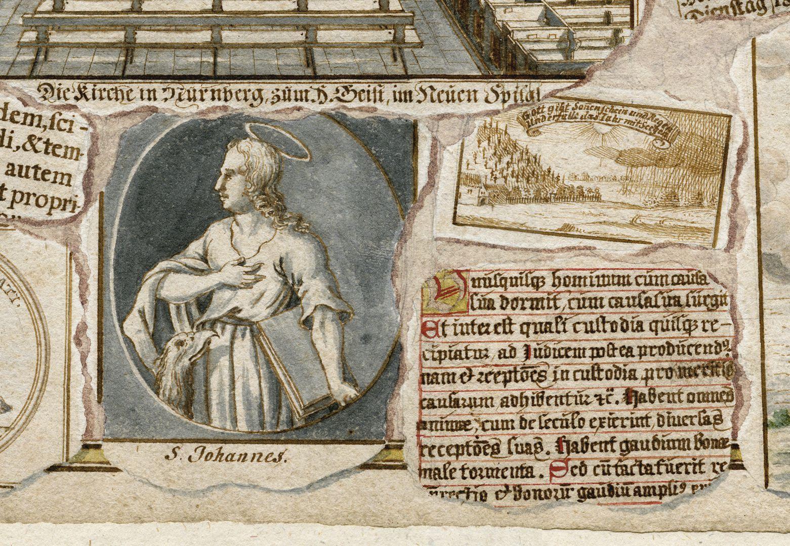 """Quodlibet zum Heilig-Geist-Spital """"Quodlibetzettel"""" am mittleren unteren Bildrand"""