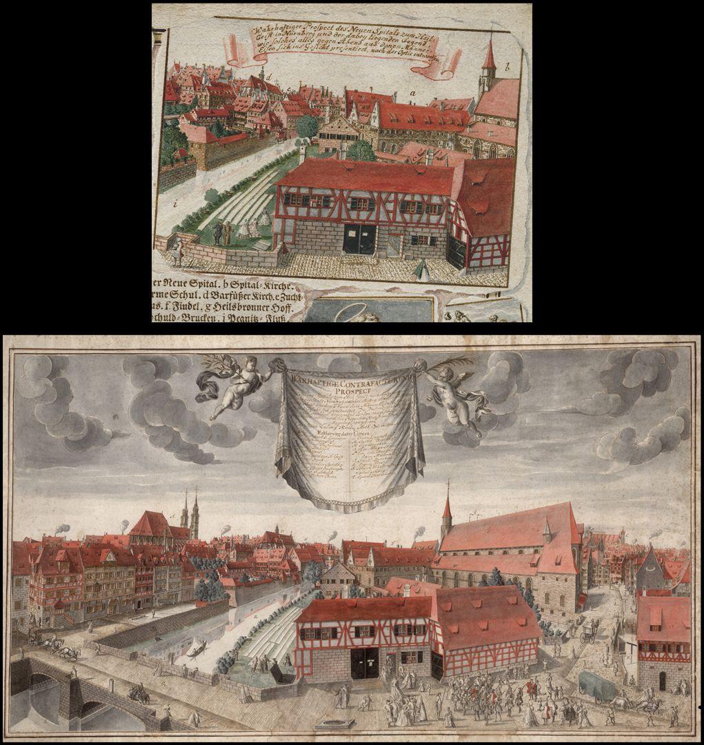 Quodlibet zum Heilig-Geist-Spital oben: rechte obere Blattecke mit der Ansicht des Heilig Geist Spitals / unten: die große Panoramaansicht des Heilig Geist Spitals von Kaulitz