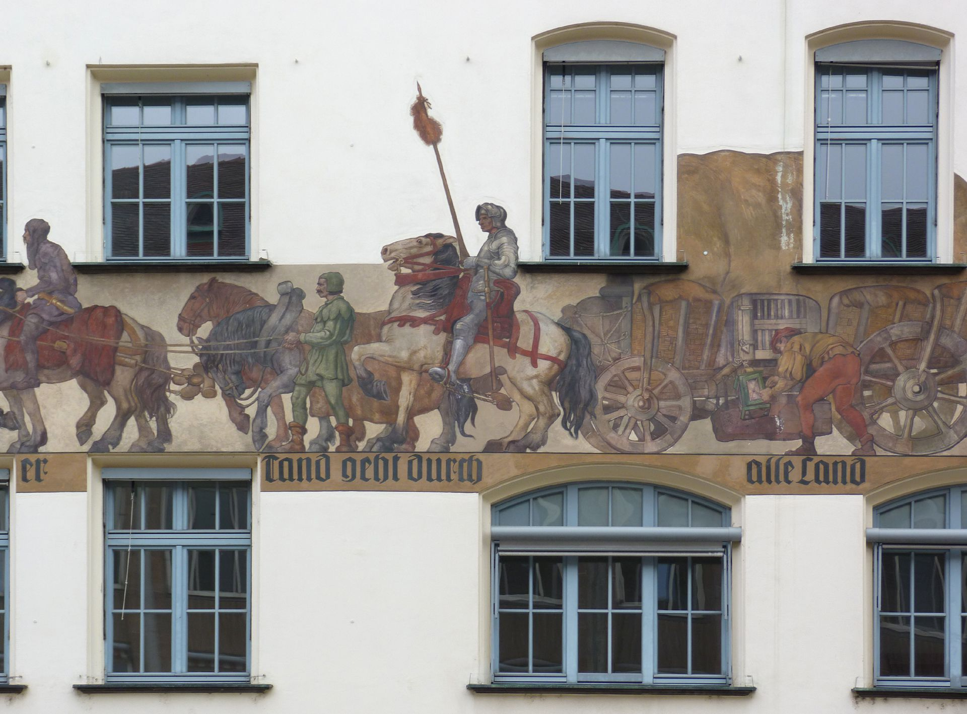Merchants´trail East front, detail: central part of the trail with wagons and knights