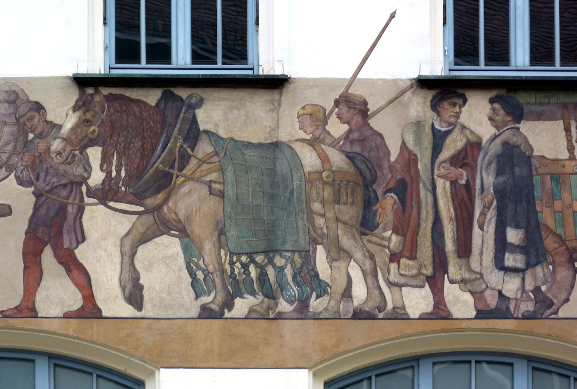 Merchants´trail East front, detail: back wagon with varlets and merchants