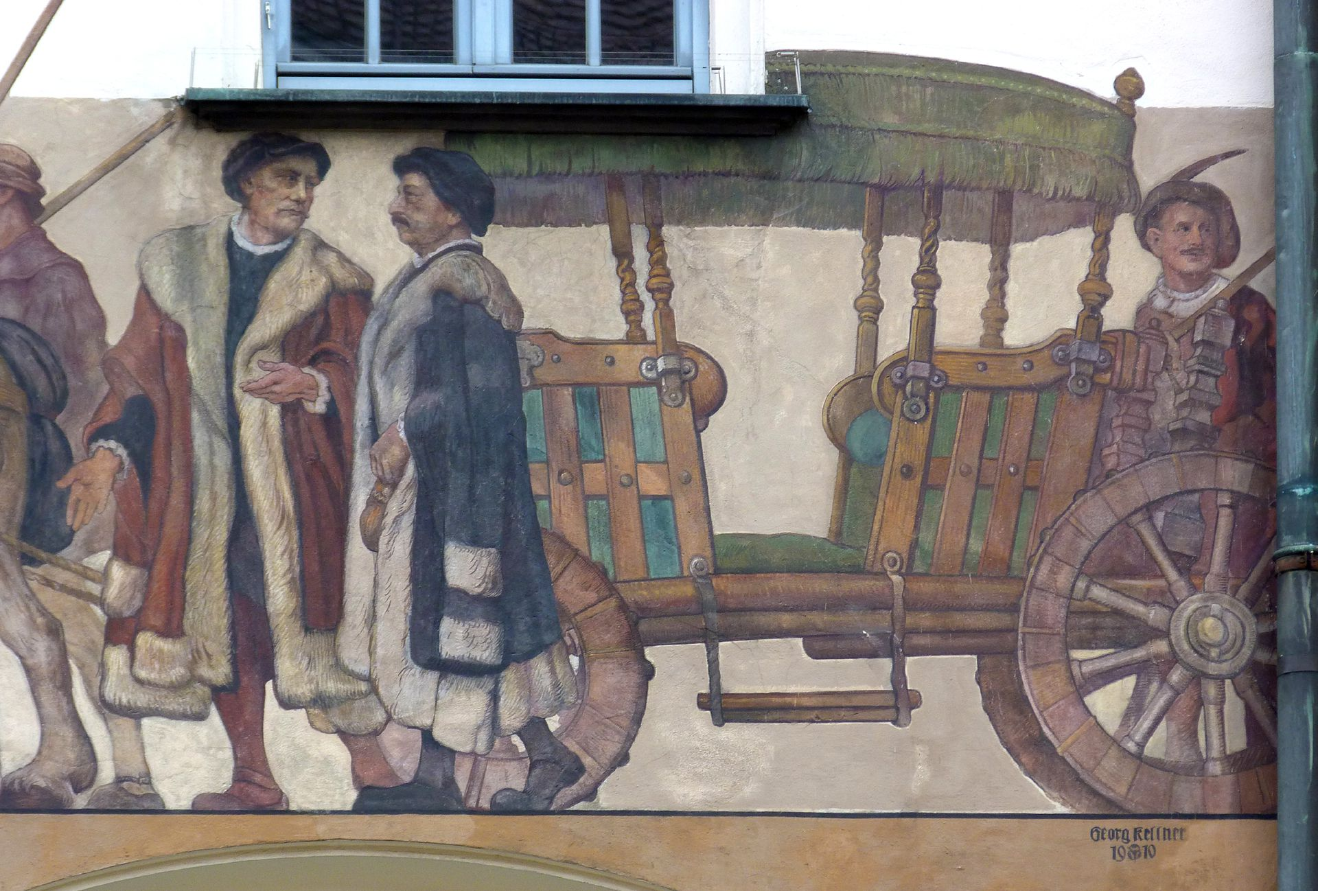 Merchants´trail East front, detail: passenger coach