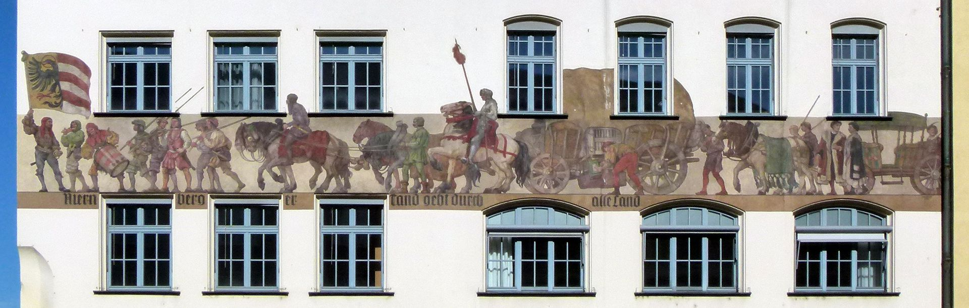 "Merchants´trail East front, general view, ""Nuremberg trinkets are sold all over the world"""