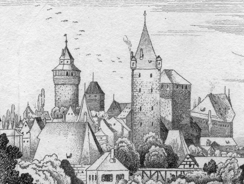 An der Stadtmauer hinter der Vesten Burgansicht von Osten