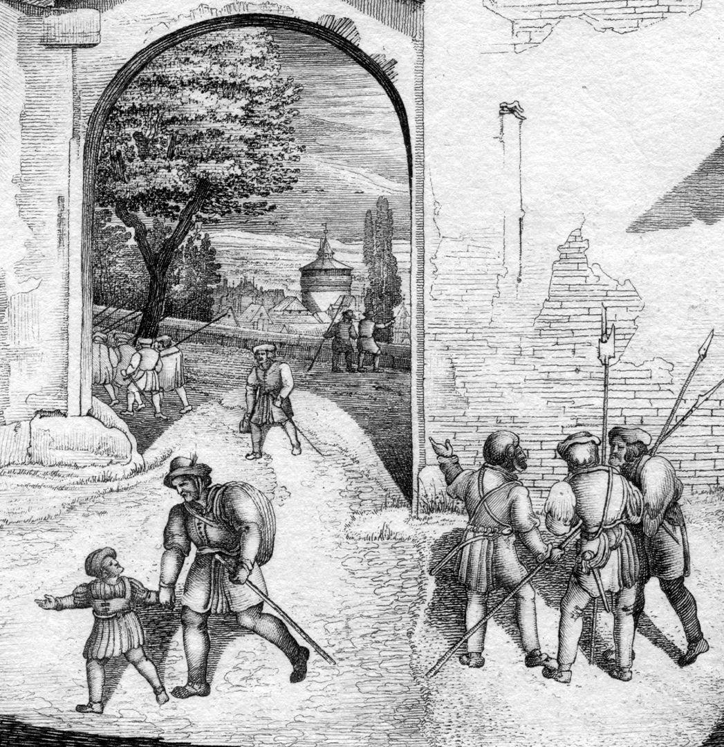 Thor gegen die Freyung Blick durch das Burgtor mit Laufertorturm im Hintergrund