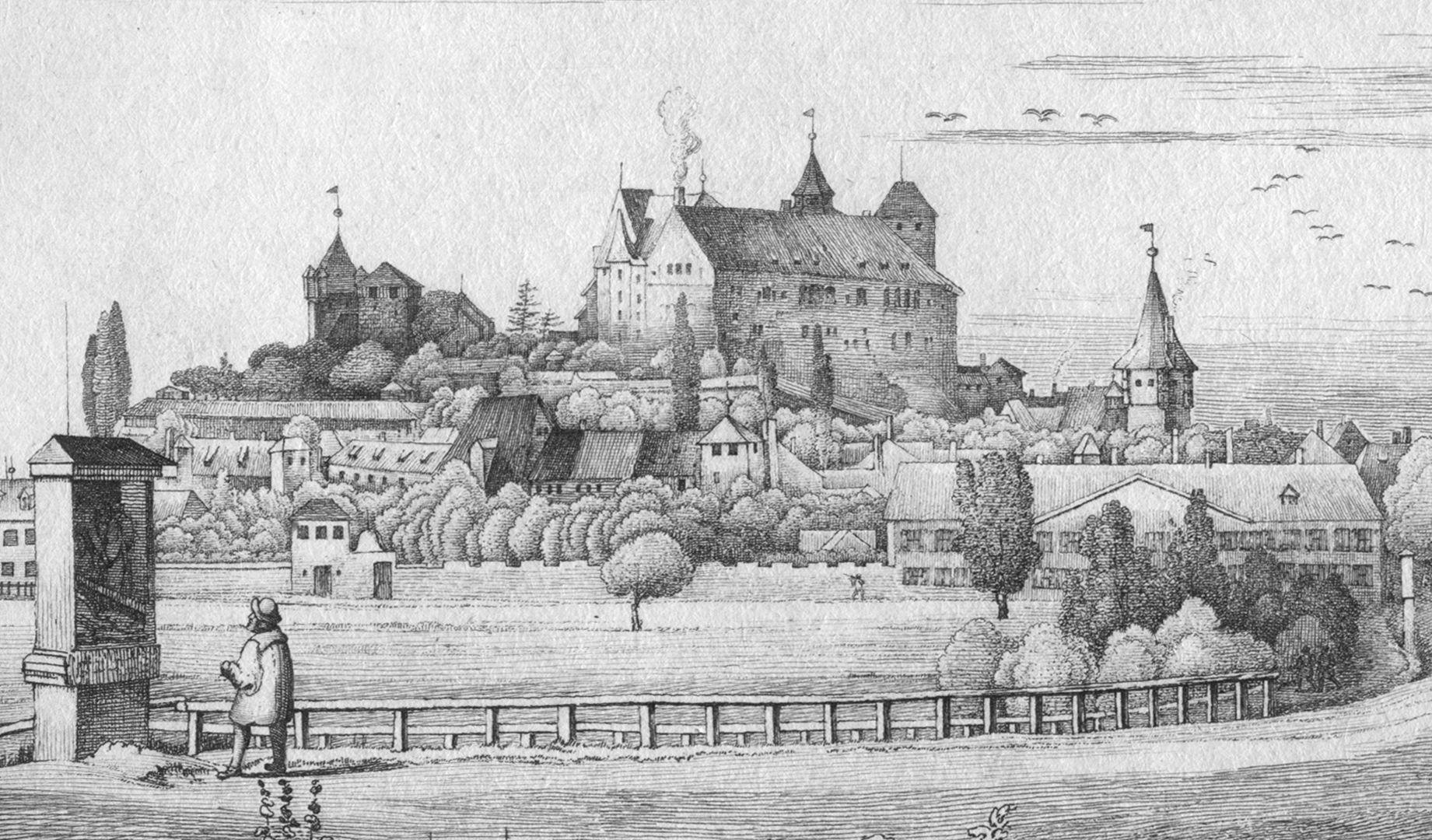 """Die Burg von St Johannis-Kirchhof aus gesehen Kreuzwegstation """"Christus stürzt unter dem Kreuz"""" von Adam Kraft und Burgansicht"""