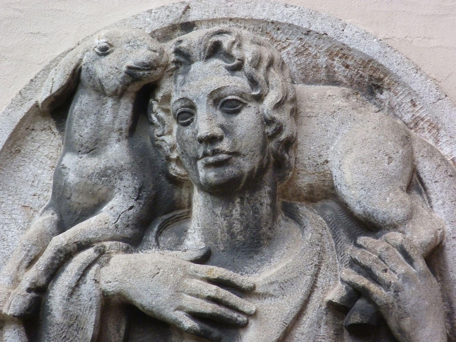 Tondo with the Godd Shepherd (Moskoforos) Detail