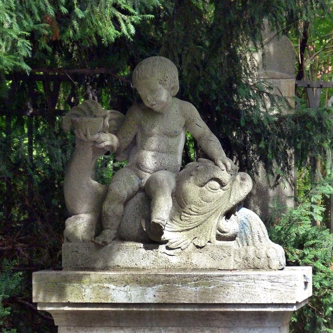 Pomona Fountain Boy with a bowl on a dolphin