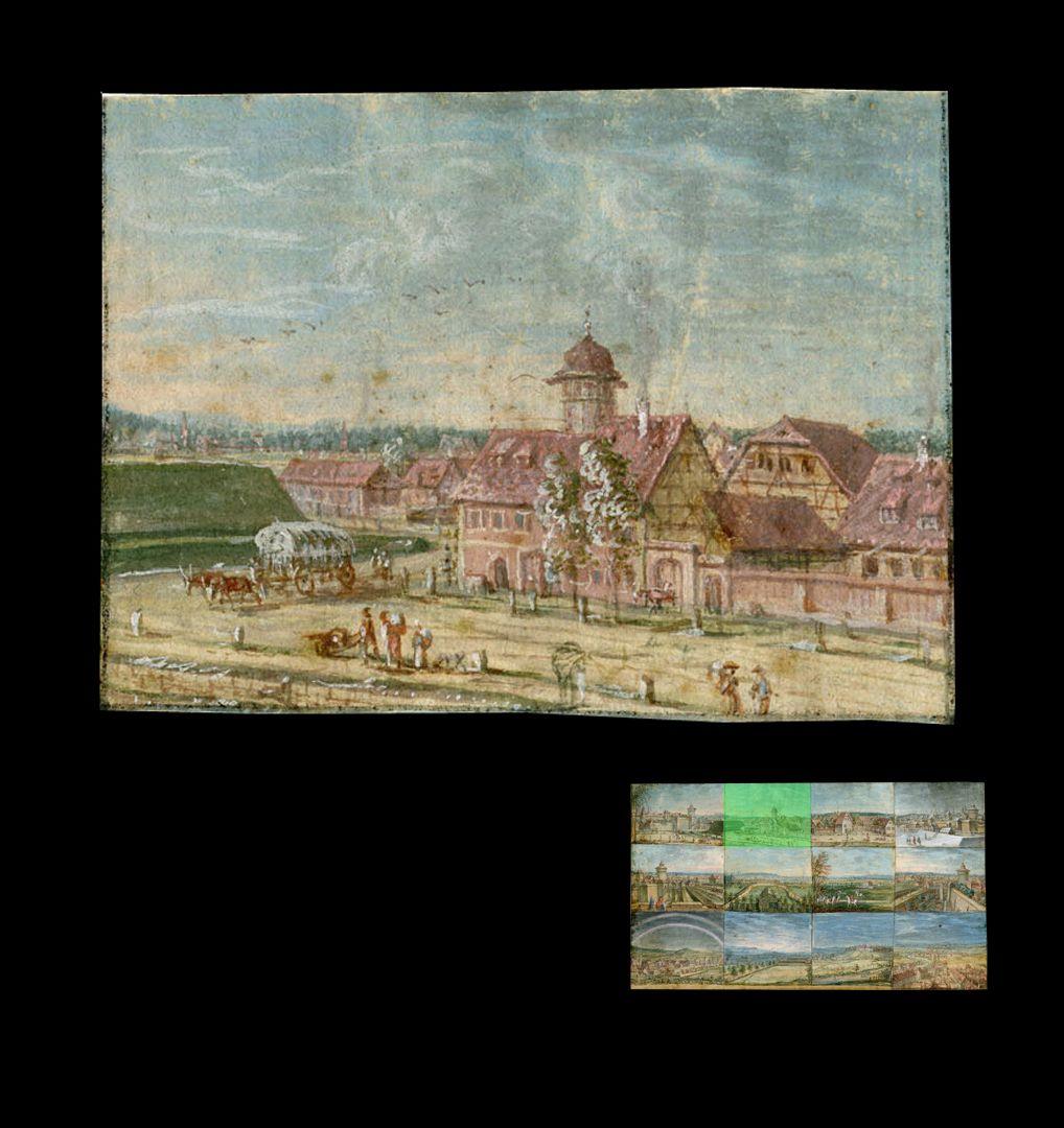 Zwölf Ansichten von Nürnberg und andernorts Haus mit Treppenturm, vor dem Frauentor und außerhalb der Schanzen