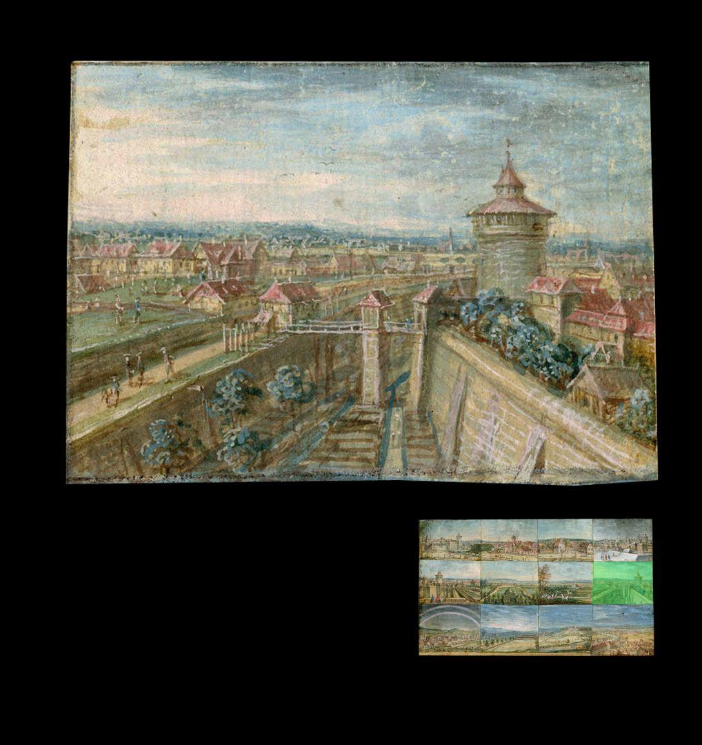 Zwölf Ansichten von Nürnberg und andernorts das Spittlertor von Südosten