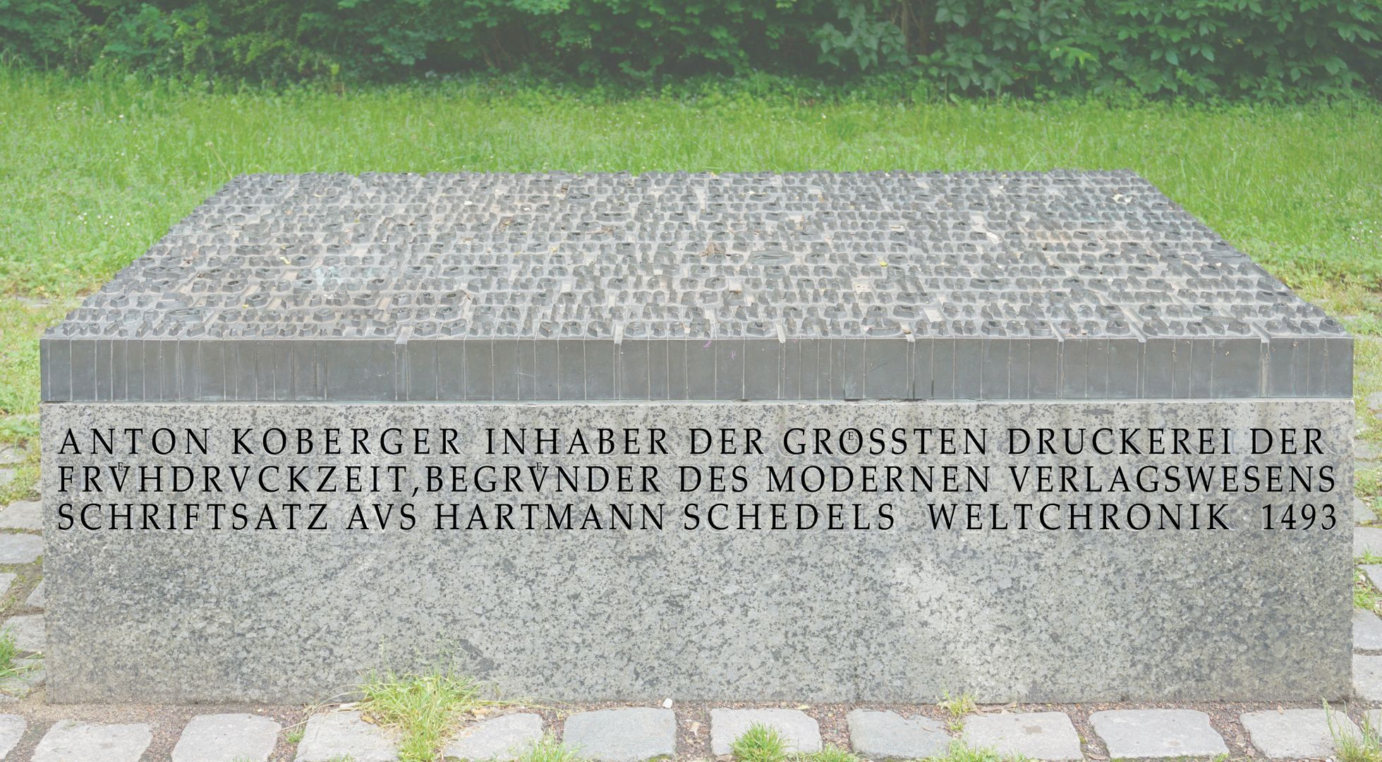 Anton Koberger / Memorial Stone Front side with inscription text (later photo editing)