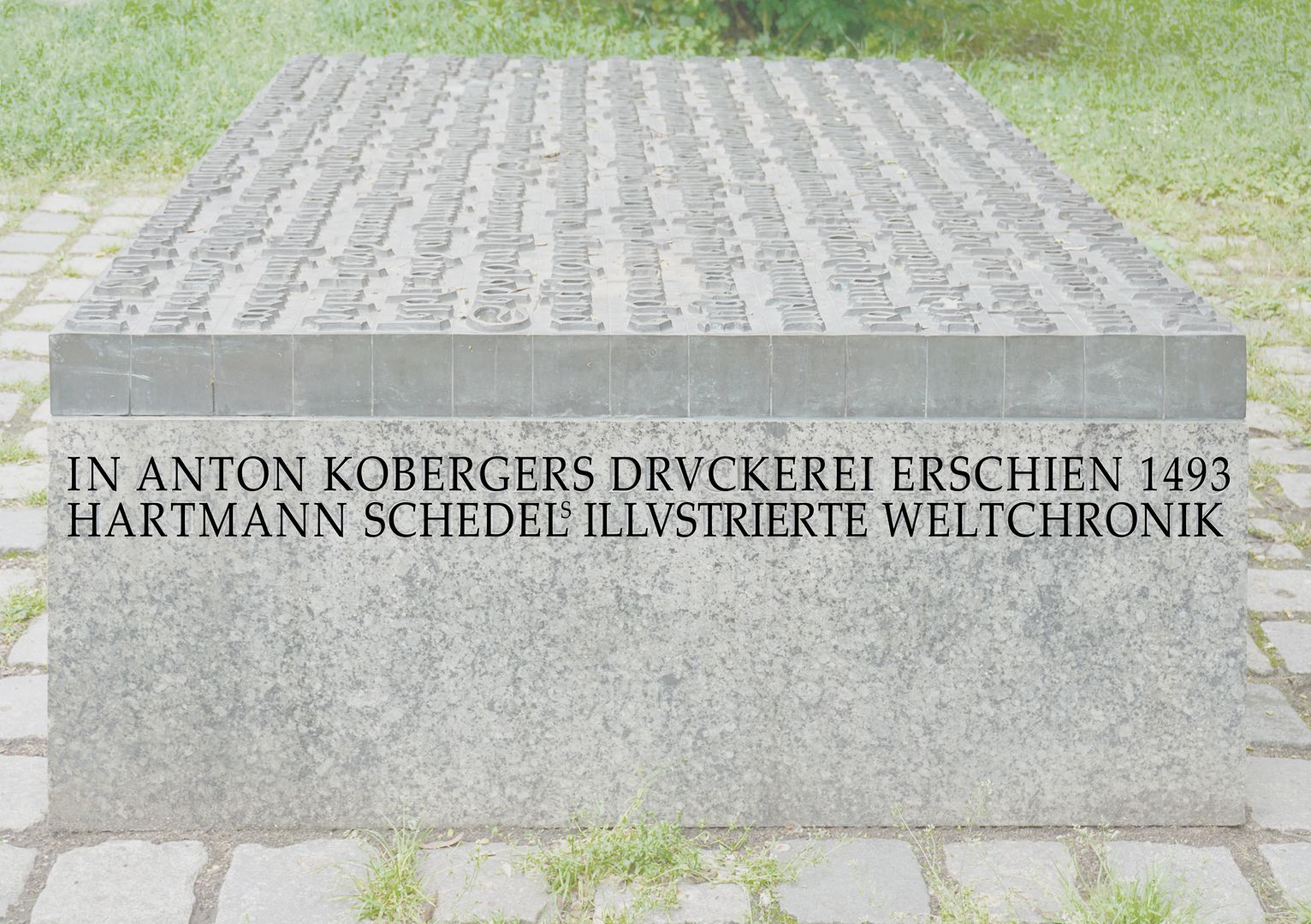 Anton Koberger / Memorial Stone Right side with inscription text (later photo editing)