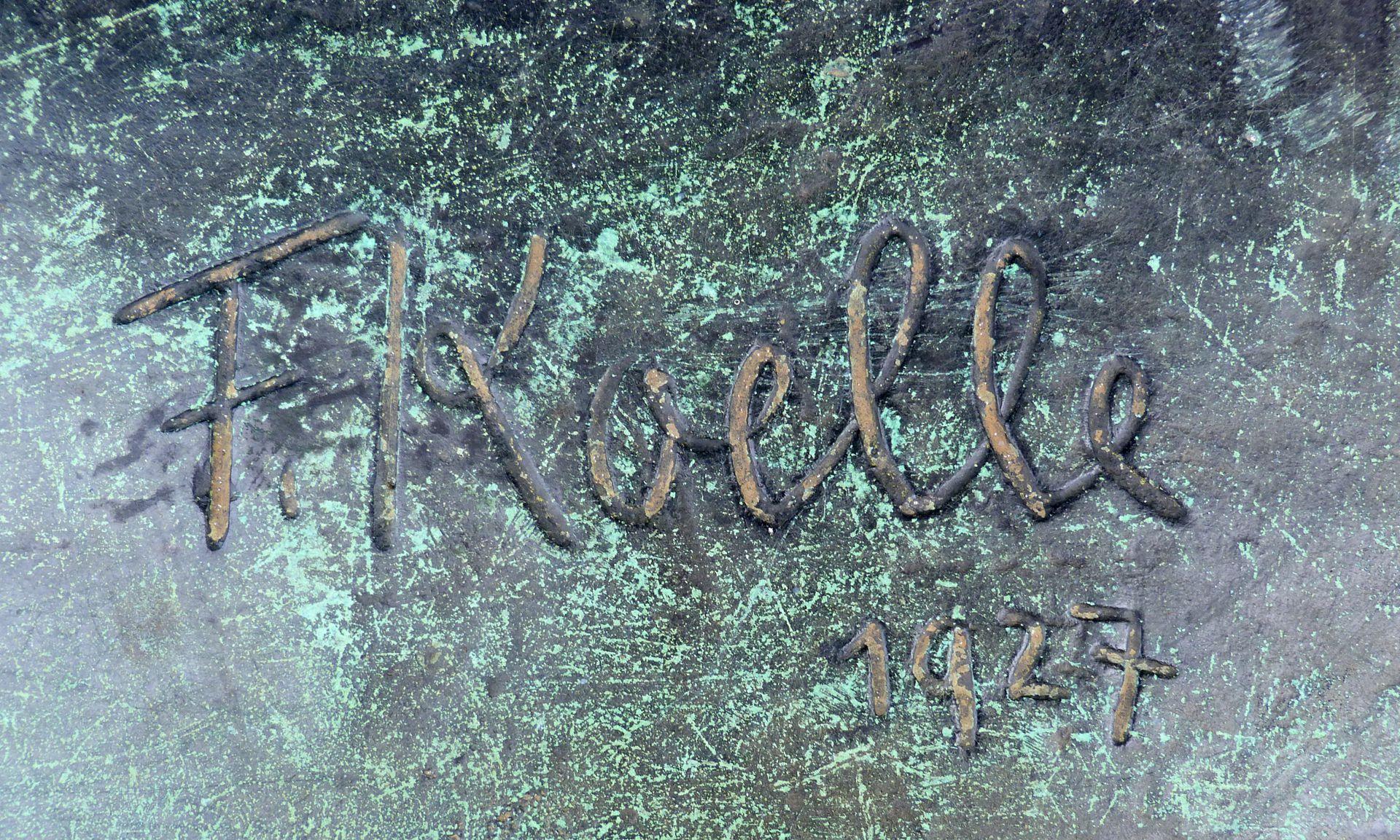 Statue of a miner Pedestal, artist´s signature