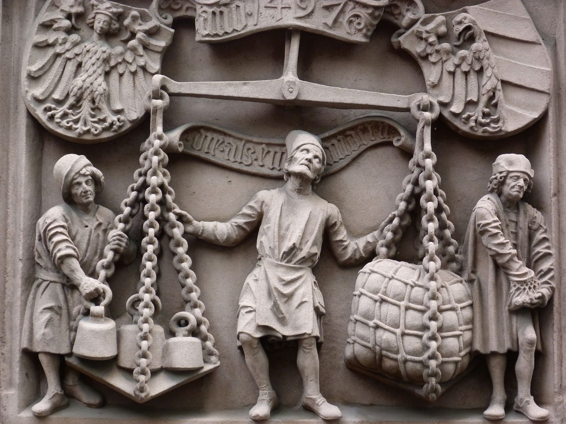 Scales relief Detail of weighing master, his assistants and merchant
