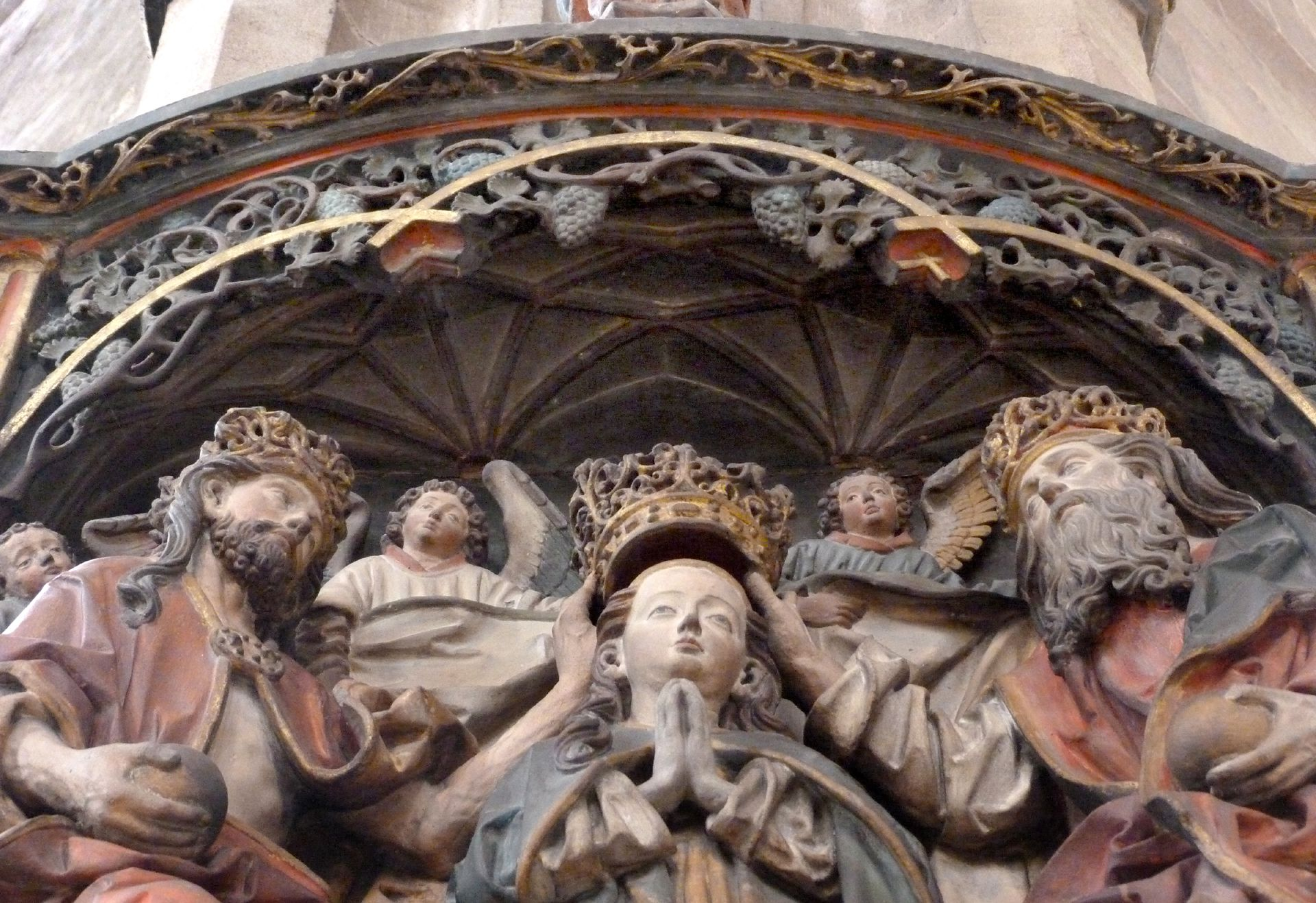 Epitaph of Hans Rebeck Detail: Coronation of Mary under a vault canopy