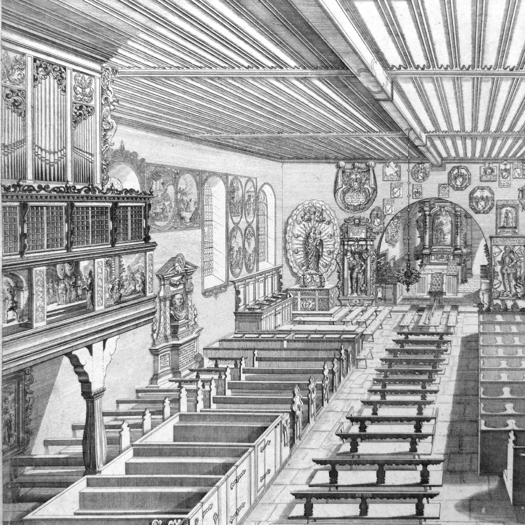 """Urbis Norimbergensis Insigniorum Templorum…"" St. George´s Church in Kraftshof (Georgskirche) Left half of the picture"