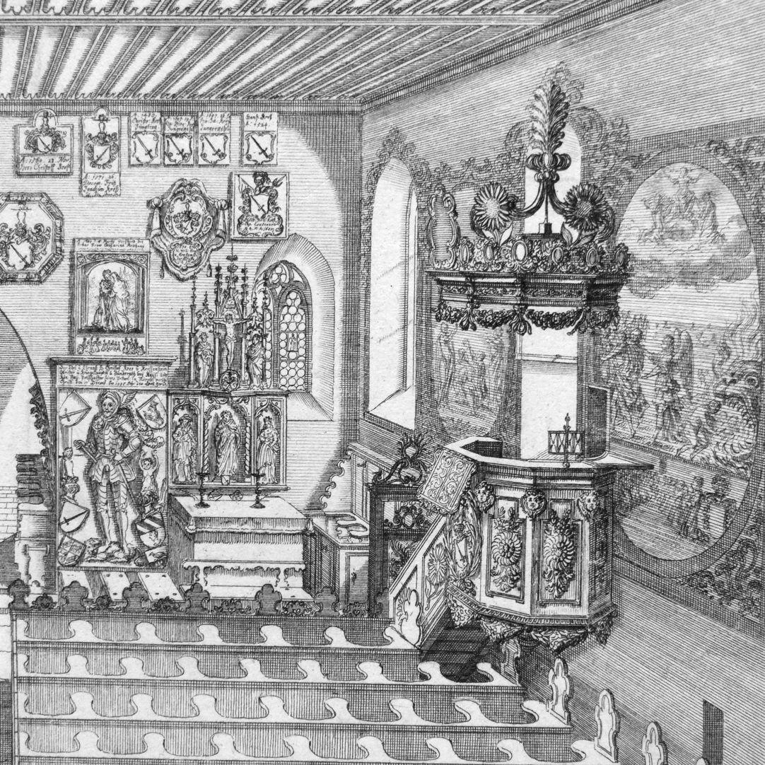 """""""Urbis Norimbergensis Insigniorum Templorum…"""" St. George´s Church in Kraftshof (Georgskirche) Right half of the picture, detail"""