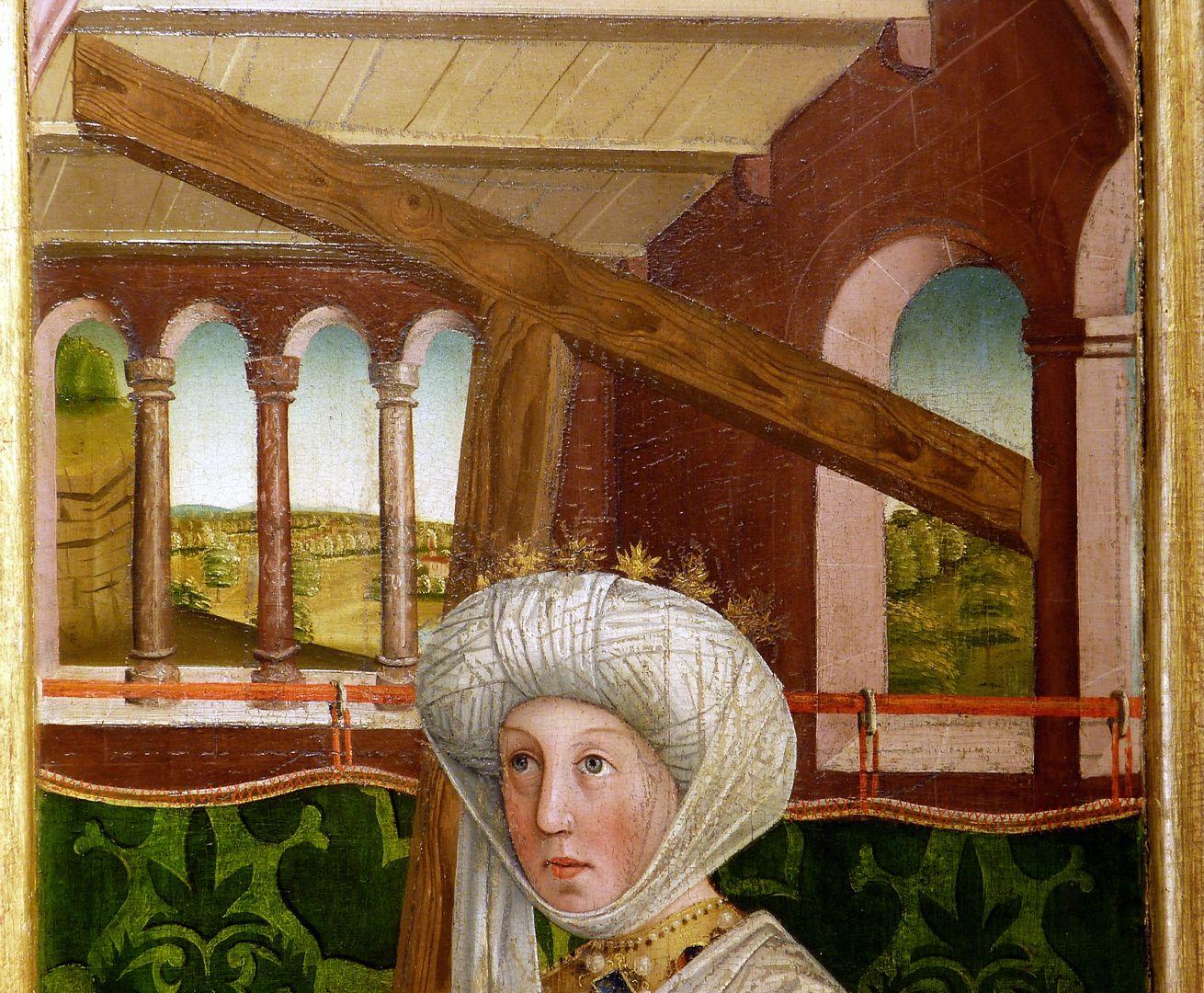 Krell-Altar rechte äußere Seitentafel mit St. Helena, oberes Bilddrittel mit Blick in einen Innenraum und Landschaft