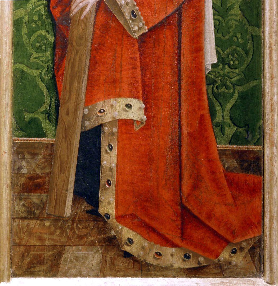 Krell-Altar rechte äußere Seitentafel mit St. Helena, untere Bildpartie, man beachte die unterschiedlichste Wiedergabe der Materialbeschaffenheiten
