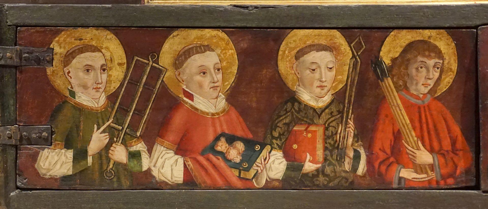 Krell-Altar linke Predellahälfte mit den Heiligen: Laurentius, Stephanus, Vincentius und Sebastian