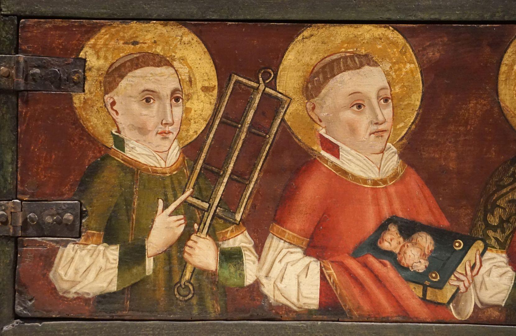 Krell-Altar linke Predellahälfte mit den Heiligen: Laurentius, Stephanus, Detailansicht